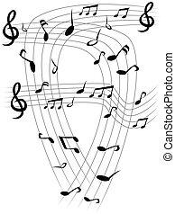 La nota musical cubre el fondo