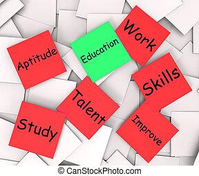 La nota post-it de educación muestra habilidades de aprendizaje y mejora