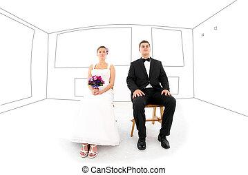La novia y el novio en su nueva casa