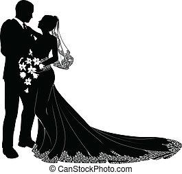La novia y el novio silueta