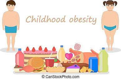 La obesidad infantil de dibujos animados. Niños obesos