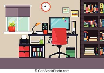 La oficina en casa al estilo plano