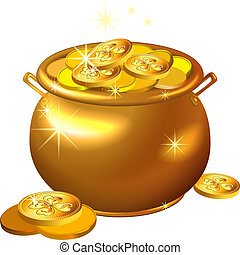 La olla de oro del Día del Vector St. Patrick con monedas