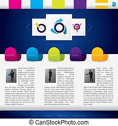 La página web de negocios se templa con etiquetas coloridas