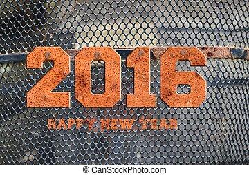"""La palabra """"2016"""" escrita en metal oxidado;"""
