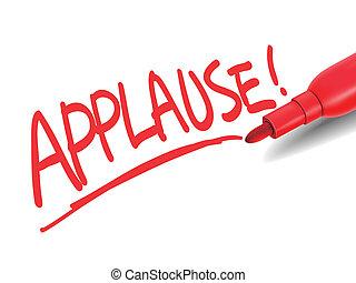 La palabra aplauso con un marcador rojo
