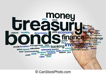La palabra nube de bonos del Tesoro