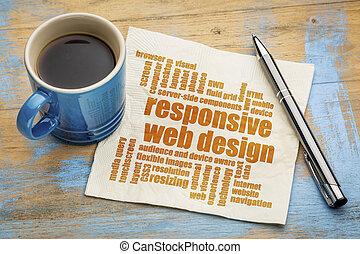 La palabra nube de diseño web de respuesta