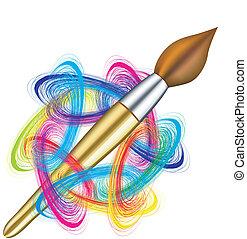 La paleta y el cepillo del artista del vector