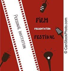 La pancarta del festival de cine, fondo retro