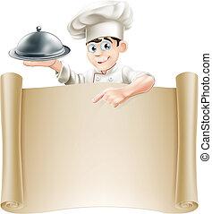 La pancarta del menú del chef