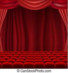 La pantalla del cine con cortinas