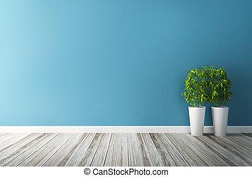 La parcela de flores blancas y el interior de la pared azul