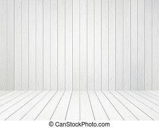 La pared blanca de madera y el fondo de la madera