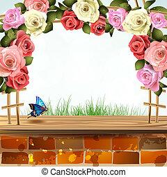 La pared de ladrillos con rosas