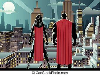 La pareja de superhéroes vigilan la noche