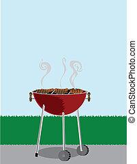 La parrilla BBQ está cubierta de perritos calientes