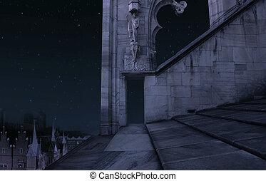 La parte del viejo castillo de noche