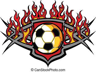La pelota de fútbol se templa con las llamas