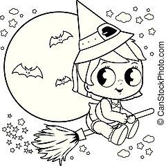 La pequeña bruja de Halloween volando con su escoba mágica en el cielo nocturno. Página de color blanco y negro