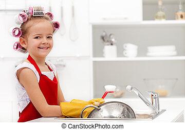 La pequeña niña de la limpieza