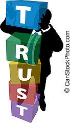 La persona de negocios construye una confianza leal al cliente