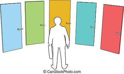 La persona de negocios elige las puertas
