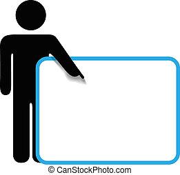 La persona de Symbol pega figuras de los puntos de señal de los dedos