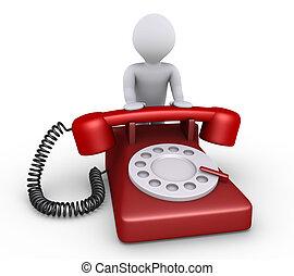 La persona está con el teléfono