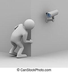 La persona mira fuera de la esquina. Imagen 3D