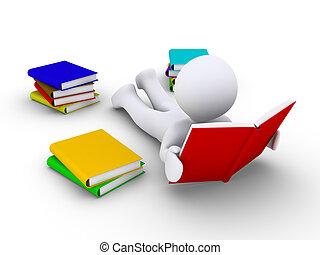 La persona relajada está leyendo