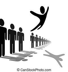 La persona Symbol salta de la línea vuela por encima de la gente
