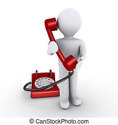 La persona tiene un receptor de teléfono