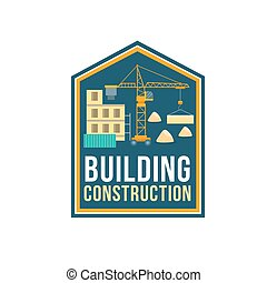 La placa de la empresa de construcción con el sitio de construcción