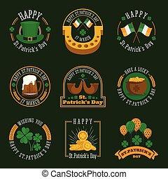 La placa del día de St. Patrick y la colección de etiquetas