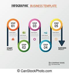 La plantilla cronográfica de los negocios de carretera. Ilustración de vectores. Se puede usar para diseño de flujo de trabajo, pancarta, diagrama, opciones de número, diseño web.