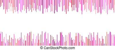 La plantilla de Banner - vector horizontal gráfico de rayas verticales en tonos rosados en fondo blanco