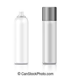 La plantilla de botellas de spray blanco y plateado.