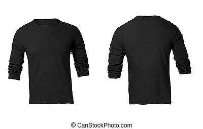 La plantilla de camisa de mangas negras de hombre
