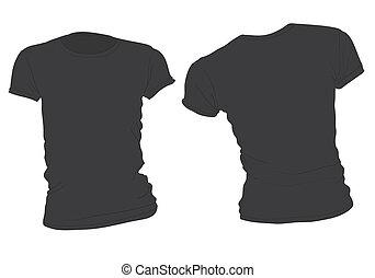 La plantilla de camiseta negra de la mujer