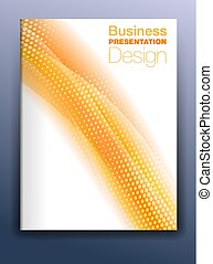 La plantilla de cubierta de Brochure naranja para una presentación de negocios con antecedentes abstractos