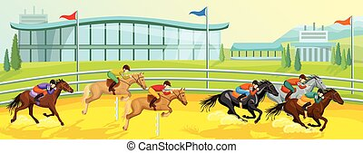 La plantilla de dibujos animados deportivos ecuestre