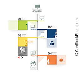 La plantilla de diseño infográfico de línea de tiempo puedo usarse para infográficos y estandartes numerados / líneas de corte horizontal / vector gráfico o web de diseño