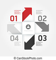 La plantilla de diseño moderno puedo usarse para infográficos, estandartes numerados, líneas horizontales, gráficos o sitios web vector de diseño