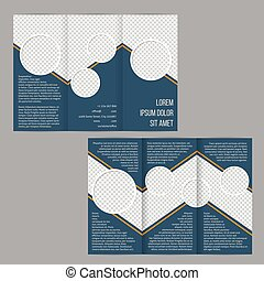 La plantilla de folletos de tri-pliegue azul