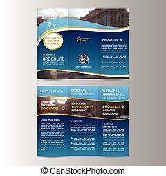 La plantilla de folletos geométricos triplicados