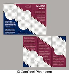 La plantilla de folletos tri-pliegados con marrón y rayas azules
