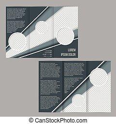 La plantilla de folletos tri-pliegados con rayas verdes