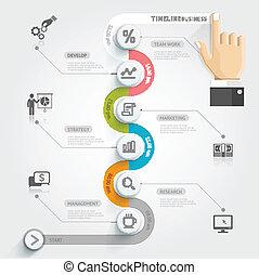 La plantilla de información de la línea de negocios. Ilustración de vectores. Se puede usar para diseño de flujo de trabajo, pancarta, diagrama, opciones de número, diseño web.