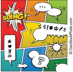 La plantilla de la página de cómics de color